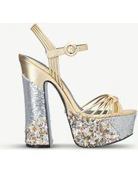 Kurt Geiger - Carlisle Metallic And Sequin-embellished Platform Sandals - Lyst