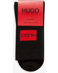 HUGO Logo-print Cotton Socks Pack Of 2 - Black