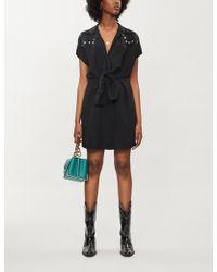 Sandro Stud-trim Woven Mini-dress - Black