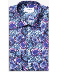 Eton Paisley-print Slim-fit Cotton-twill Shirt - Blue