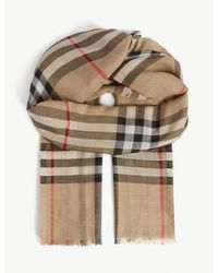 Burberry Giant Check Wool-silk Scarf - Natural