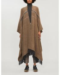 Brunello Cucinelli Fringed Knitted Poncho - Brown