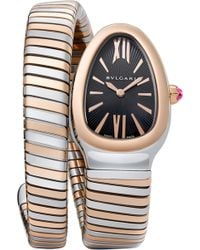 BVLGARI - Serpenti 18ct Pink-gold And Stainless Steel Watch - Lyst