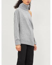 PAIGE Raundi Turtleneck Cutout Wool-blend Jumper - Grey