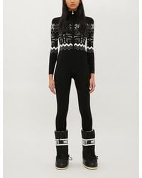 Perfect Moment High-neck Fairisle-pattern Knitted Ski Suit - Black