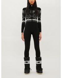 Perfect Moment High-neck Fairisle-pattern Knitted Ski Suit - Black
