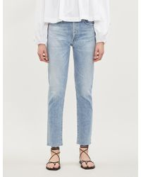Citizens of Humanity Liya Cropped High-rise Faded Boyfriend Jeans - Blue