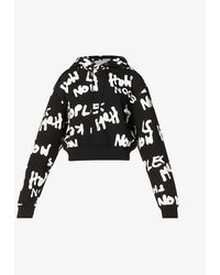 The Kooples Sport Womens Bla01 Logo-print Cropped Cotton-jersey Hoody L - Black