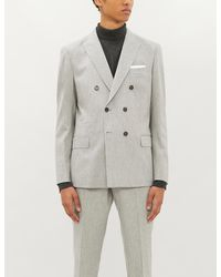 Eleventy Double-breasted Slim-fit Wool Suit - Gray