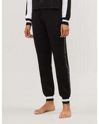 DKNY Downtown Logo-embroidered Stretch-jersey Pyjama Bottoms - Black
