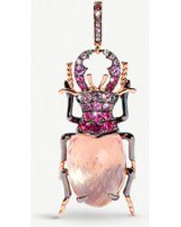 Annoushka Rose Gold And Quartz Beetle Charm - Pink