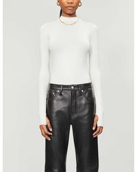 TOPSHOP ivory Funnel Neck Bodysuit By Boutique - White