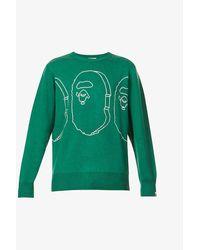 A Bathing Ape Mens Green Ape Head Crewneck Knitted Jumper S