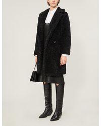 Max Mara Lastra Glittered Faux-fur Coat - Black