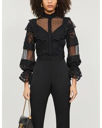 Alexis Dafnie Tulle And Lace Blouse - Black