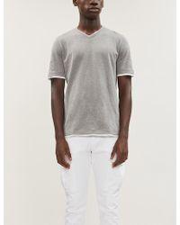 Eleventy V-neck Cotton-jersey T-shirt - Multicolor