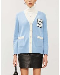 Sandro Varsity-style Wool Cardigan - Blue