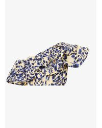 Camilla & Marc Nadine Floral-print One-shoulder Cotton-poplin Top - Blue