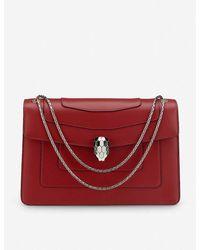 BVLGARI Serpenti Forever Leather Shoulder Bag - Red