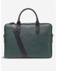 Smythson Panama Slim Leather Briefcase - Green