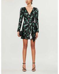 Self-Portrait Leaf-pattern Sequinned Mini Dress - Black