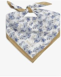 Eton of Sweden Heart Paisley Print Silk Bandana Scarf - Grey