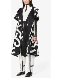 Issey Miyake Graphic-print Hooded Cotton Coat - Black