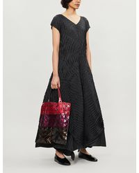 Issey Miyake Asymmetric Pleated Woven Maxi Dress - Black