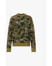 A Bathing Ape Camo Shark Camouflage-print Cotton-jersey Sweatshirt - Green