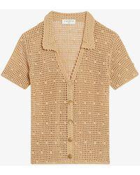 Sandro Yvan V-neck Crochet Cardigan - Natural