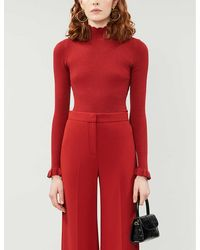 Ted Baker Frill Trim Rib-knit Sweater - Red