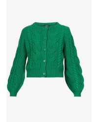 The Kooples Cable-knit Wool-blend Cardigan - Green