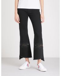 Sandro - Lace-embroidered Flared High-rise Jeans - Lyst