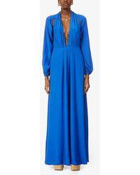 Cult Gaia Hera Cut-out Crepe Gown - Blue