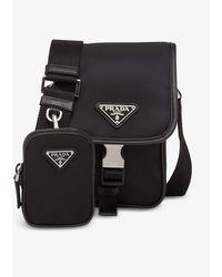 Prada Linea Rossa Re-nylon Branded Recycled Nylon And Leather Shoulder Bag - Black