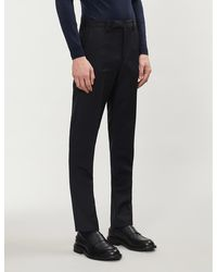 Paul Smith Soho-fit Wool And Mohair-blend Pants - Blue