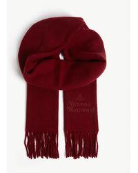 Vivienne Westwood Orb Logo Tasseled Wool Scarf - Red