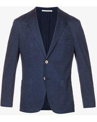 Eleventy Checked Single-breasted Linen-cotton Blend Blazer - Blue