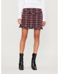 Pinko Vite Tartan Woven Mini Skirt - Red