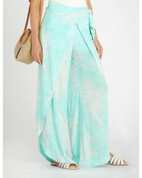 ViX - Feather-print Woven Beach Trousers - Lyst