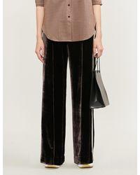 SERENA BUTE LONDON Side-stripe Wide-leg Velvet Pants - Black