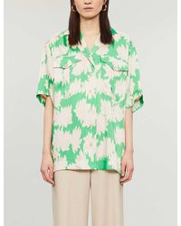 TOPSHOP green Floral Print Shirt By Boutique