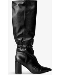 Zadig & Voltaire Glimmer Pointed-toe Heeled Knee-high Leather Boots - Black