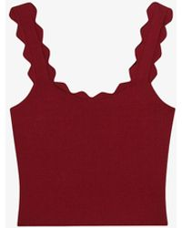 Claudie Pierlot Marylia Scalloped Cotton-blend Knit Top - Red