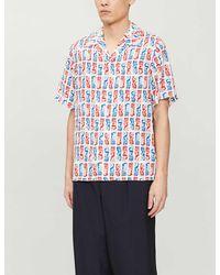 KENZO Mermaid-print Camp-collar Woven Shirt - White
