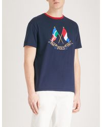 Polo Ralph Lauren - Cross Flags Cotton-jersey T-shirt - Lyst