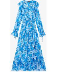 The Kooples Floral-print V-neck Crepe Maxi Dress - Blue