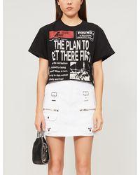 The Kooples - Buckle-detail High-waist Denim Mini Skirt - Lyst