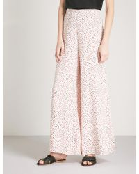 Free People Easy Peasy Cherry-print Crepe Trousers - White