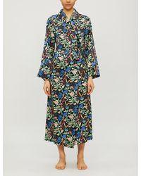 YOLKE Anaïs-print Stretch Silk-satin Dressing Gown - Black